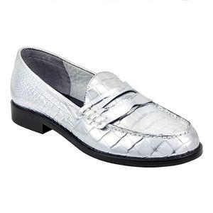 NWT Marc Fisher Y2K Halli Metallic Penny Loafers